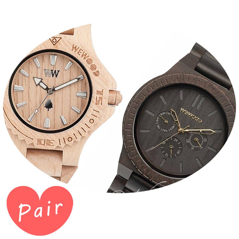 【ペアウォッチ】 【素敵なラッピング付】 WEWOOD ウィーウッド 正規品 腕時計ナチュラルウッド ハンドメイドデイトベージュカッパブラック/ゴールドwewood-9818025wewood-9818031