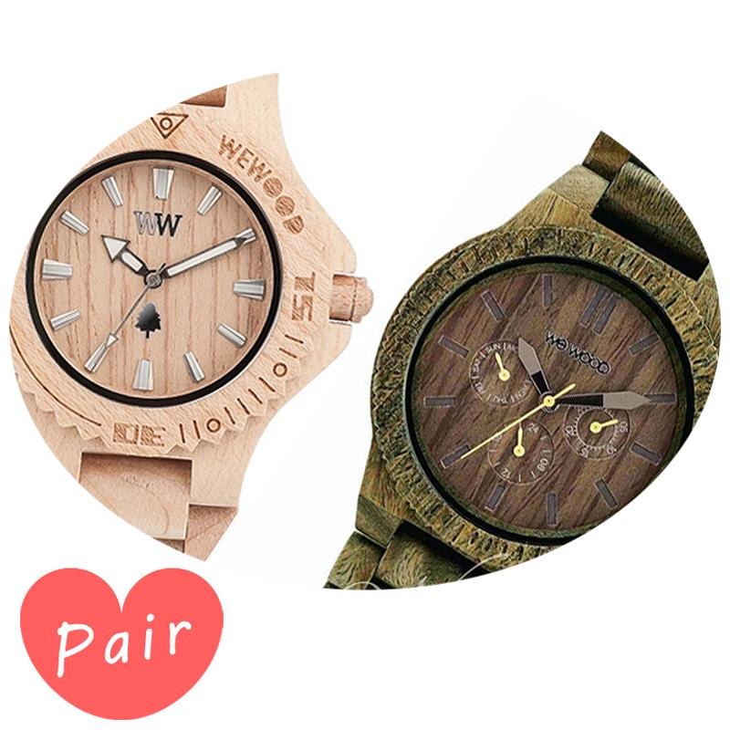【ペアウォッチ】 【素敵なラッピング付】 WEWOOD ウィーウッド 正規品 腕時計ナチュラルウッド ハンドメイドデイトベージュカッパアーミーwewood-9818025wewood-9818053