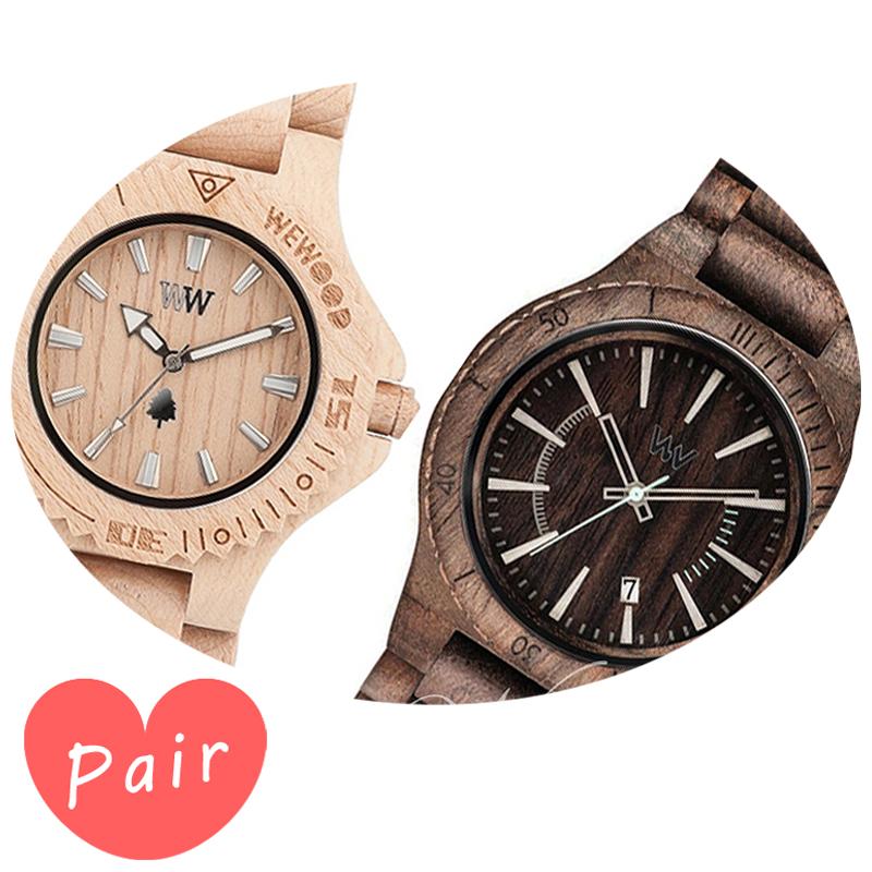 【ペアウォッチ】 WEWOOD ウィーウッド 正規品 腕時計ナチュラルウッド ハンドメイドデイトベージュアサントチョコラフwewood-9818025wewood-9818086