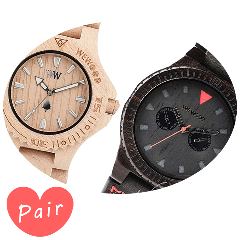 【ペアウォッチ】 【素敵なラッピング付】 WEWOOD ウィーウッド 正規品 腕時計ナチュラルウッド ハンドメイドデイトベージュレオテッラブラックwewood-9818025wewood-9818094