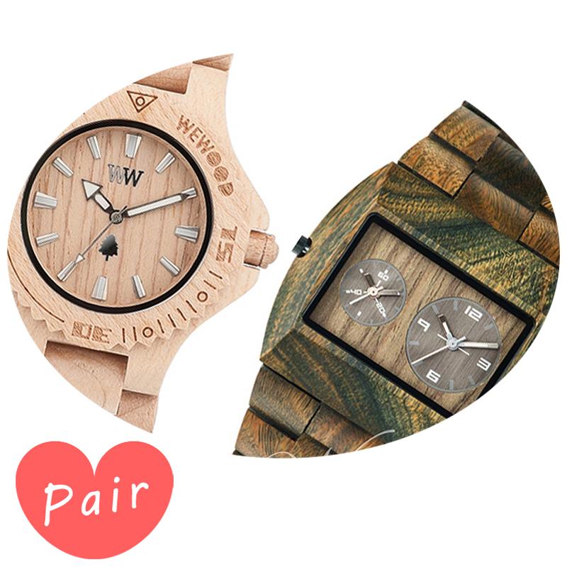 【ペアウォッチ】 WEWOOD ウィーウッド 正規品 腕時計ナチュラルウッド ハンドメイドデイトベージュアーミーwewood-9818025wewood-9818072