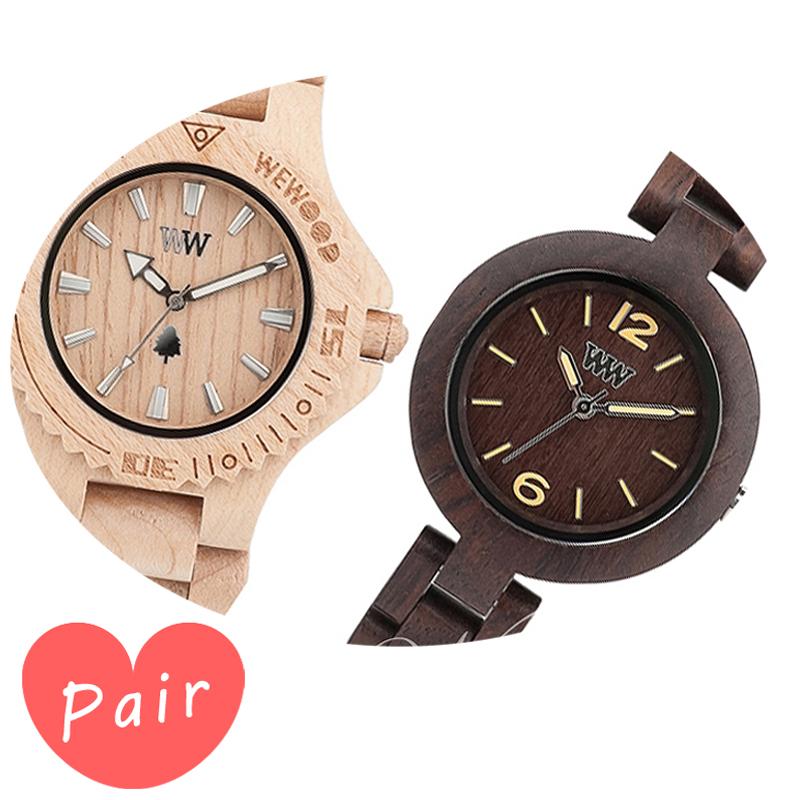 【ペアウォッチ】 【素敵なラッピング付】 WEWOOD ウィーウッド 正規品 腕時計ナチュラルウッド ハンドメイドデイトベージュミモザチョコレートwewood-9818025wewood-9818075