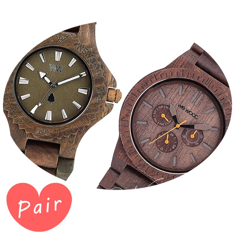 【ペアウォッチ】 WEWOOD ウィーウッド 正規品 腕時計ナチュラルウッド ハンドメイドデイトアーミーカッパチョコレートwewood-9818026wewood-9818028
