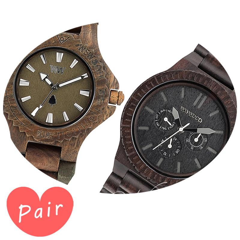 【ペアウォッチ】 【素敵なラッピング付】 WEWOOD ウィーウッド 正規品 腕時計ナチュラルウッド ハンドメイドデイトアーミーカッパブラックwewood-9818026wewood-9818029