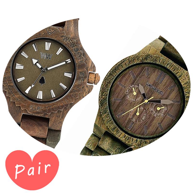 【ペアウォッチ】 【素敵なラッピング付】 WEWOOD ウィーウッド 正規品 腕時計ナチュラルウッド ハンドメイドデイトアーミーカッパアーミーwewood-9818026wewood-9818053