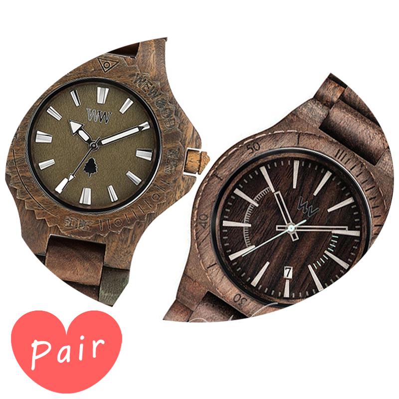 【ペアウォッチ】 【素敵なラッピング付】 WEWOOD ウィーウッド 正規品 腕時計ナチュラルウッド ハンドメイドデイトアーミーアサントチョコラフwewood-9818026wewood-9818086