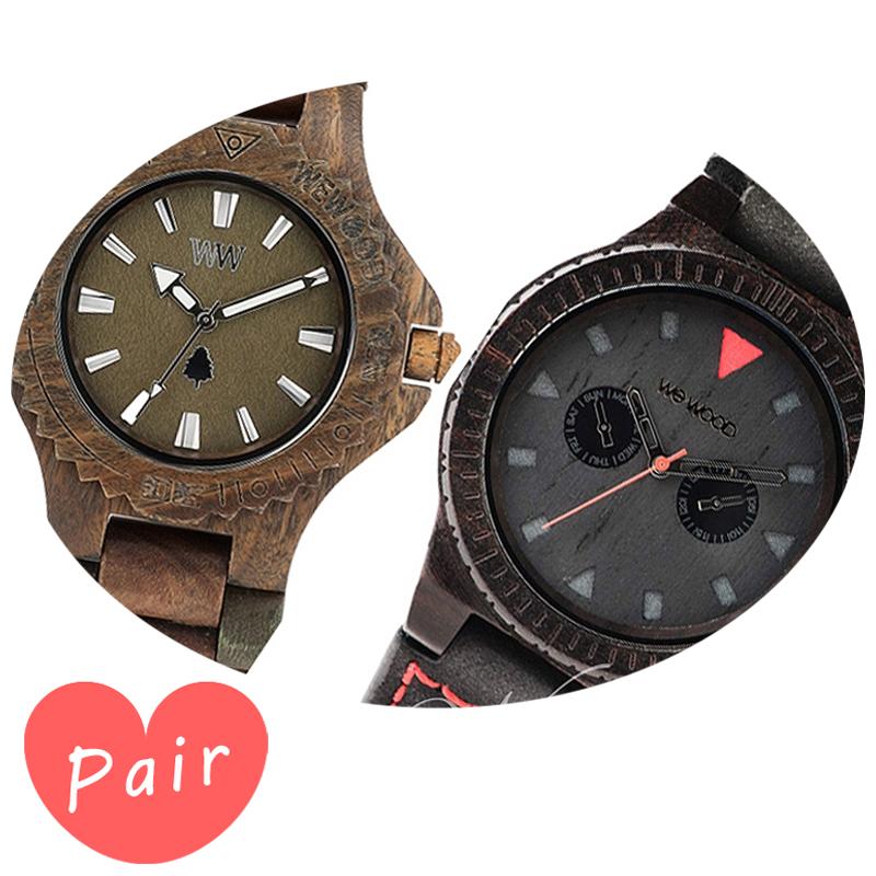 【ペアウォッチ】 WEWOOD ウィーウッド 正規品 腕時計ナチュラルウッド ハンドメイドデイトアーミーレオテッラブラックwewood-9818026wewood-9818094