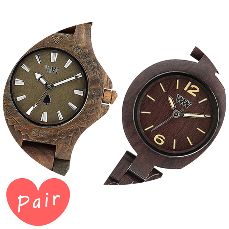 【ペアウォッチ】 【素敵なラッピング付】 WEWOOD ウィーウッド 正規品 腕時計ナチュラルウッド ハンドメイドデイトアーミーミモザチョコレートwewood-9818026wewood-9818075