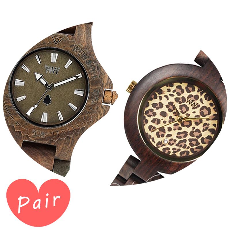 【ペアウォッチ】 【素敵なラッピング付】 WEWOOD ウィーウッド 正規品 腕時計ナチュラルウッド ハンドメイドデイトアーミーパルドゥスチョコレートwewood-9818026wewood-9818076