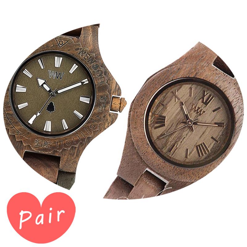 【ペアウォッチ】 【素敵なラッピング付】 WEWOOD ウィーウッド 正規品 腕時計ナチュラルウッド ハンドメイドデイトアーミークリスナットwewood-9818026wewood-9818034