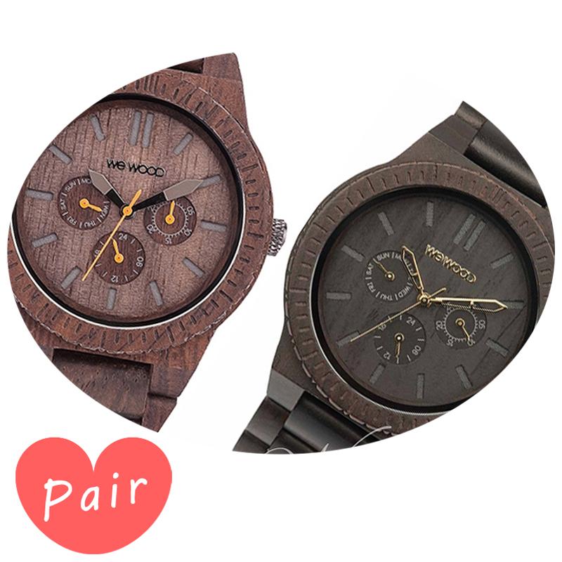 【ペアウォッチ】 【素敵なラッピング付】 WEWOOD ウィーウッド 正規品 腕時計ナチュラルウッド ハンドメイドカッパチョコレートカッパブラック/ゴールドwewood-9818028wewood-9818031