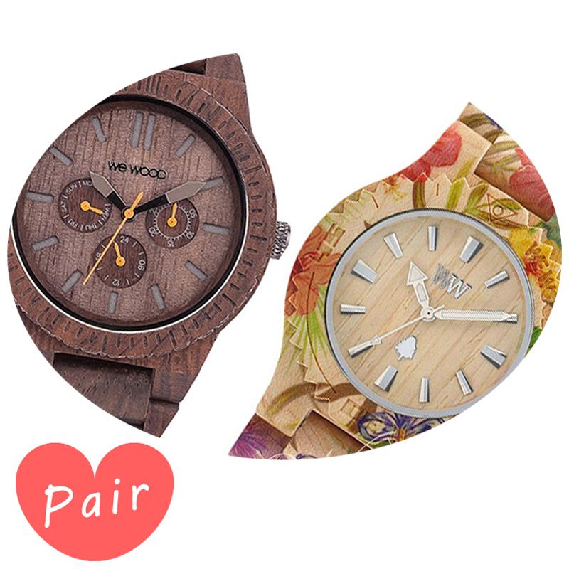 【ペアウォッチ】 【素敵なラッピング付】 WEWOOD ウィーウッド 正規品 腕時計ナチュラルウッド ハンドメイドカッパチョコレートデイトプリントフラワー×ベージュwewood-9818028wewood-9818035