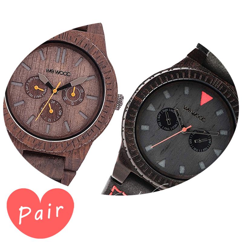 【ペアウォッチ】 【素敵なラッピング付】 WEWOOD ウィーウッド 正規品 腕時計ナチュラルウッド ハンドメイドカッパチョコレートレオテッラブラックwewood-9818028wewood-9818094