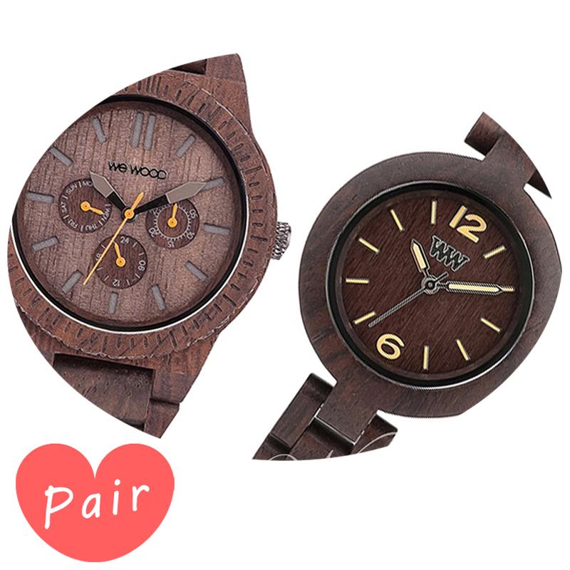 【ペアウォッチ】 【素敵なラッピング付】 WEWOOD ウィーウッド 正規品 腕時計ナチュラルウッド ハンドメイドカッパチョコレートミモザチョコレートwewood-9818028wewood-9818075