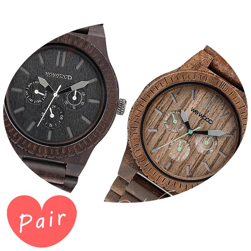 【ペアウォッチ】 【素敵なラッピング付】 WEWOOD ウィーウッド 正規品 腕時計ナチュラルウッド ハンドメイドカッパブラックカッパナットwewood-9818029wewood-9818030