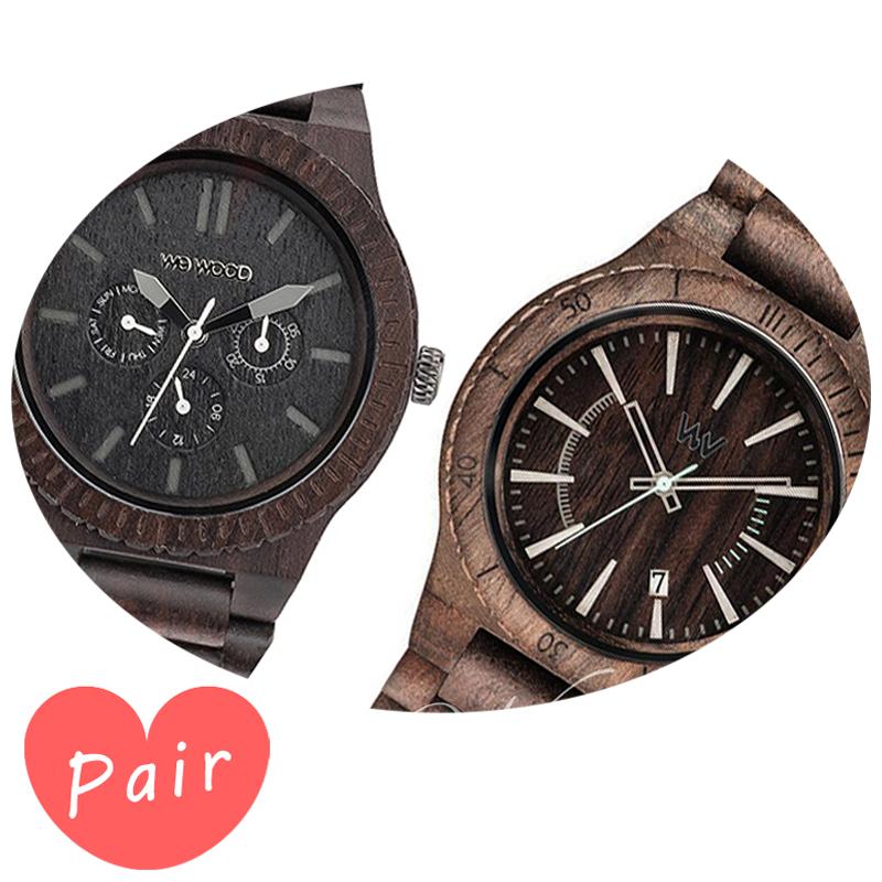 【ペアウォッチ】 【素敵なラッピング付】 WEWOOD ウィーウッド 正規品 腕時計ナチュラルウッド ハンドメイドカッパブラックアサントチョコラフwewood-9818029wewood-9818086