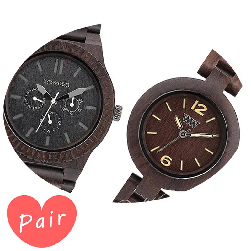 【ペアウォッチ】 【素敵なラッピング付】 WEWOOD ウィーウッド 正規品 腕時計ナチュラルウッド ハンドメイドカッパブラックミモザチョコレートwewood-9818029wewood-9818075