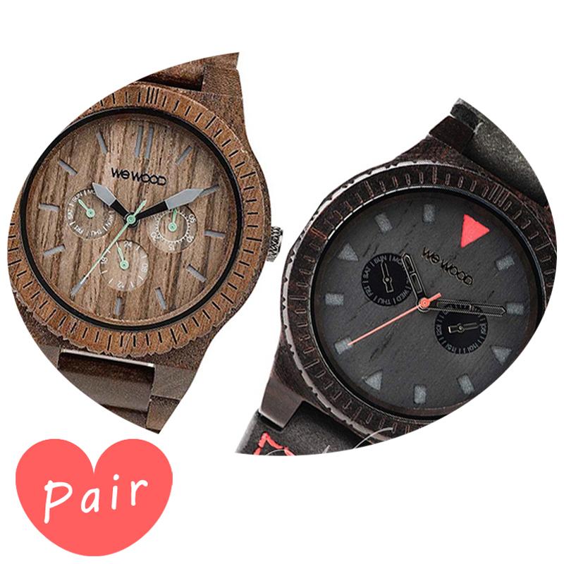 【ペアウォッチ】 【素敵なラッピング付】 WEWOOD ウィーウッド 正規品 腕時計ナチュラルウッド ハンドメイドカッパナットレオテッラブラックwewood-9818030wewood-9818094