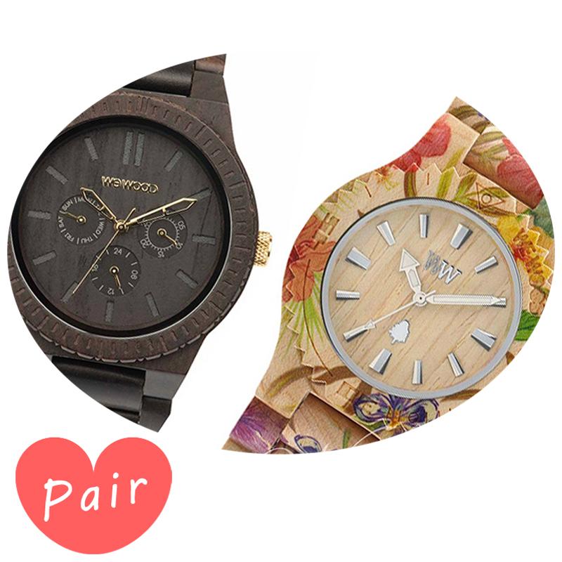 【ペアウォッチ】 【素敵なラッピング付】 WEWOOD ウィーウッド 正規品 腕時計ナチュラルウッド ハンドメイドカッパブラック/ゴールドデイトプリントフラワー×ベージュwewood-9818031wewood-9818035
