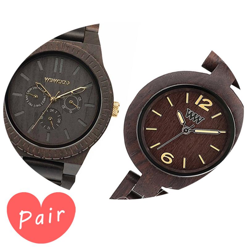 【ペアウォッチ】 WEWOOD ウィーウッド 正規品 腕時計ナチュラルウッド ハンドメイドカッパブラック/ゴールドミモザチョコレートwewood-9818031wewood-9818075