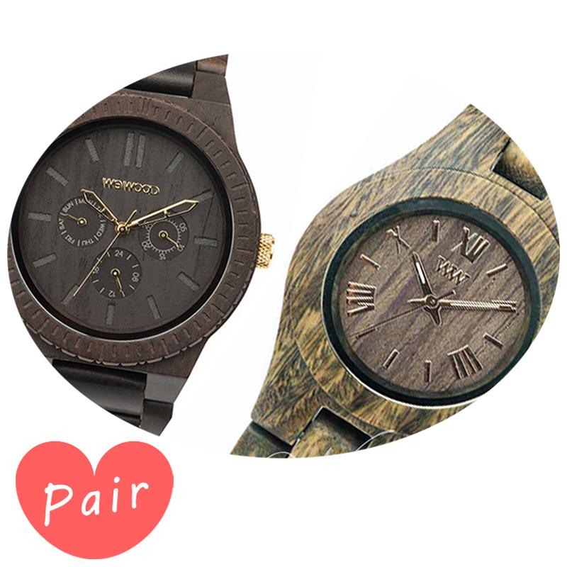 【ペアウォッチ】 WEWOOD ウィーウッド 正規品 腕時計ナチュラルウッド ハンドメイドカッパブラック/ゴールドクリスアーミーwewood-9818031wewood-9818033
