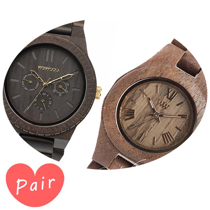 【ペアウォッチ】 【素敵なラッピング付】 WEWOOD ウィーウッド 正規品 腕時計ナチュラルウッド ハンドメイドカッパブラック/ゴールドクリスナットwewood-9818031wewood-9818034
