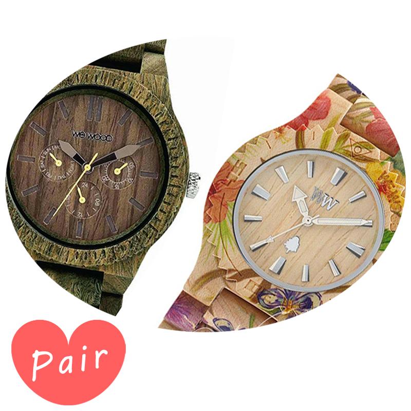 【ペアウォッチ】 【素敵なラッピング付】 WEWOOD ウィーウッド 正規品 腕時計ナチュラルウッド ハンドメイドカッパアーミーデイトプリントフラワー×ベージュwewood-9818053wewood-9818035