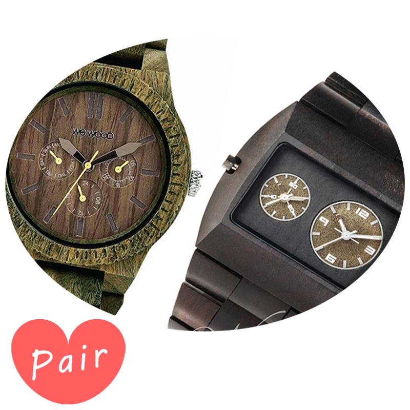 【ペアウォッチ】 WEWOOD ウィーウッド 正規品 腕時計ナチュラルウッド ハンドメイドカッパアーミーブラックwewood-9818053wewood-9818093