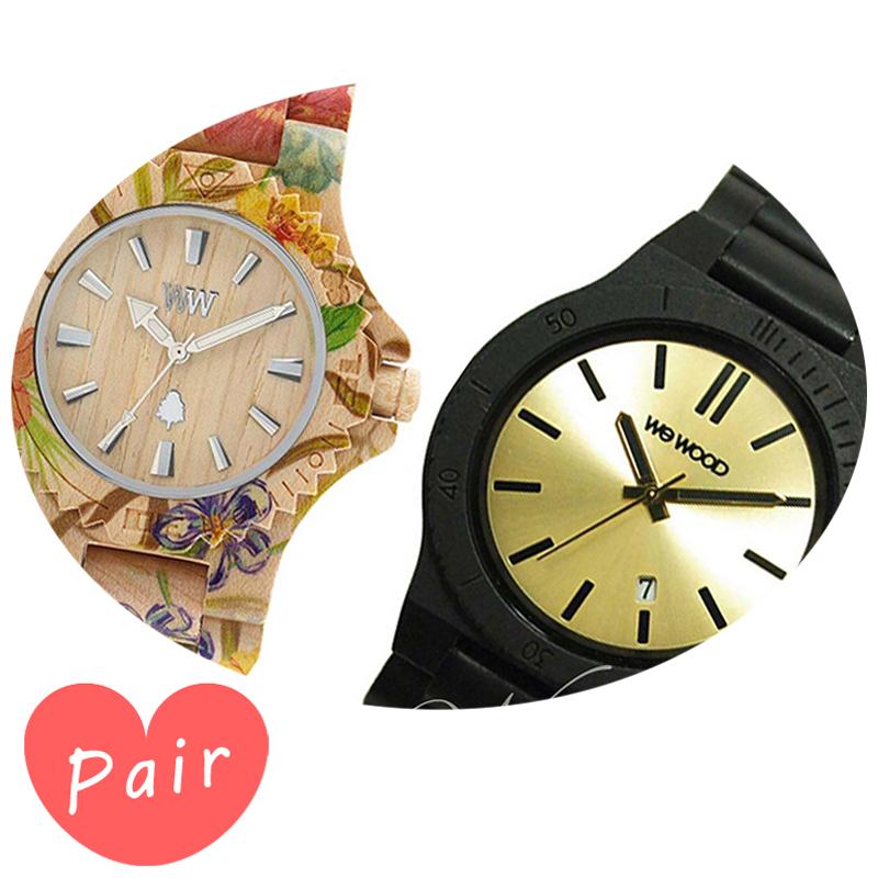【ペアウォッチ】 WEWOOD ウィーウッド 正規品 腕時計ナチュラルウッド ハンドメイドデイトプリントフラワー×ベージュアローブラック/ゴールドwewood-9818035wewood-9818085