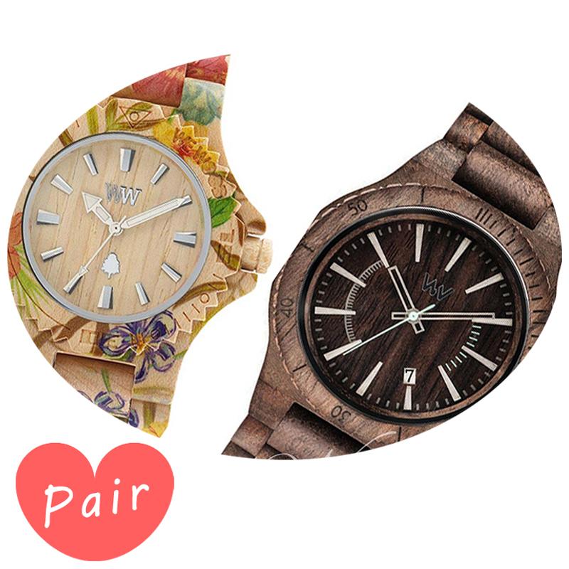 【ペアウォッチ】 WEWOOD ウィーウッド 正規品 腕時計ナチュラルウッド ハンドメイドデイトプリントフラワー×ベージュアサントチョコラフwewood-9818035wewood-9818086