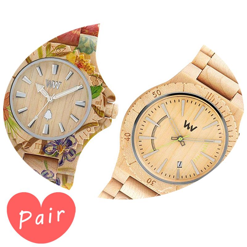 【ペアウォッチ】 WEWOOD ウィーウッド 正規品 腕時計ナチュラルウッド ハンドメイドデイトプリントフラワー×ベージュアサントベージュwewood-9818035wewood-9818049