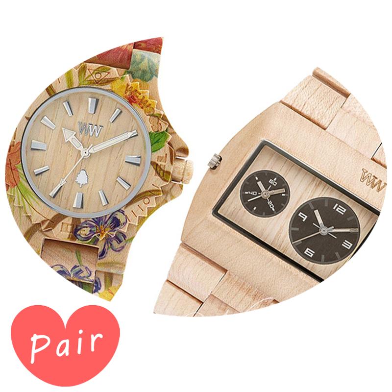 【ペアウォッチ】 WEWOOD ウィーウッド 正規品 腕時計ナチュラルウッド ハンドメイドデイトプリントフラワー×ベージュベージュwewood-9818035wewood-9818071