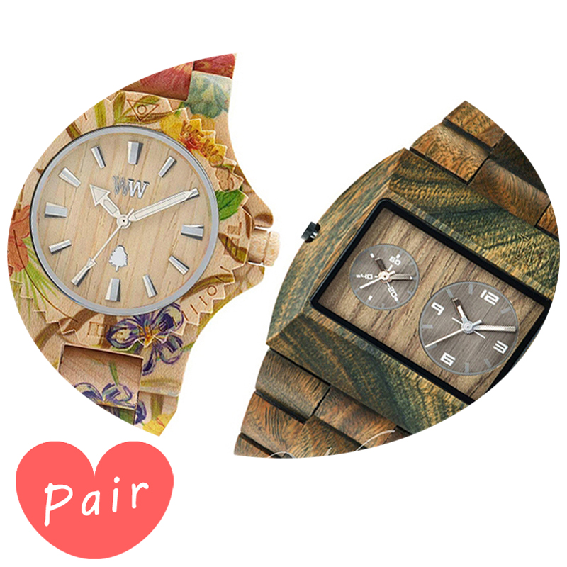 【ペアウォッチ】 WEWOOD ウィーウッド 正規品 腕時計ナチュラルウッド ハンドメイドデイトプリントフラワー×ベージュアーミーwewood-9818035wewood-9818072