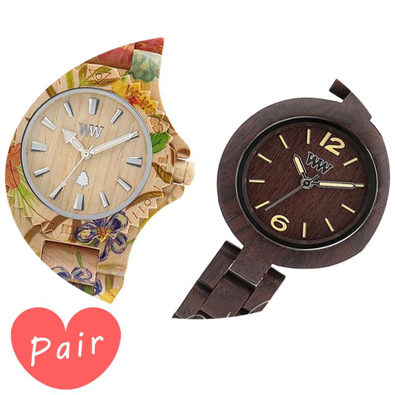 【ペアウォッチ】 【素敵なラッピング付】 WEWOOD ウィーウッド 正規品 腕時計ナチュラルウッド ハンドメイドデイトプリントフラワー×ベージュミモザチョコレートwewood-9818035wewood-9818075