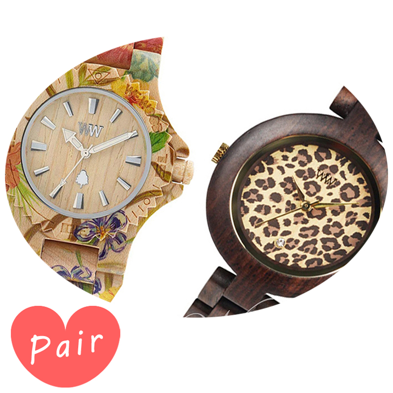 【ペアウォッチ】 WEWOOD ウィーウッド 正規品 腕時計ナチュラルウッド ハンドメイドデイトプリントフラワー×ベージュパルドゥスチョコレートwewood-9818035wewood-9818076
