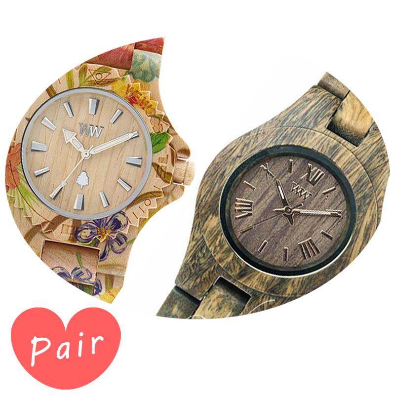 【ペアウォッチ】 【素敵なラッピング付】 WEWOOD ウィーウッド 正規品 腕時計ナチュラルウッド ハンドメイドデイトプリントフラワー×ベージュクリスアーミーwewood-9818035wewood-9818033