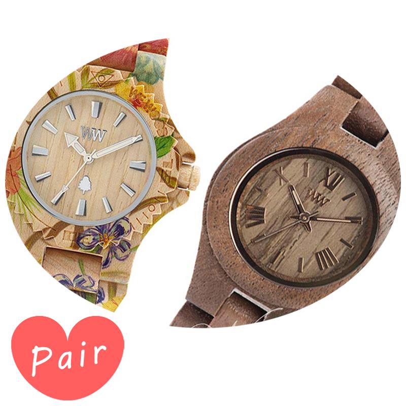 【ペアウォッチ】 【素敵なラッピング付】 WEWOOD ウィーウッド 正規品 腕時計ナチュラルウッド ハンドメイドデイトプリントフラワー×ベージュクリスナットwewood-9818035wewood-9818034