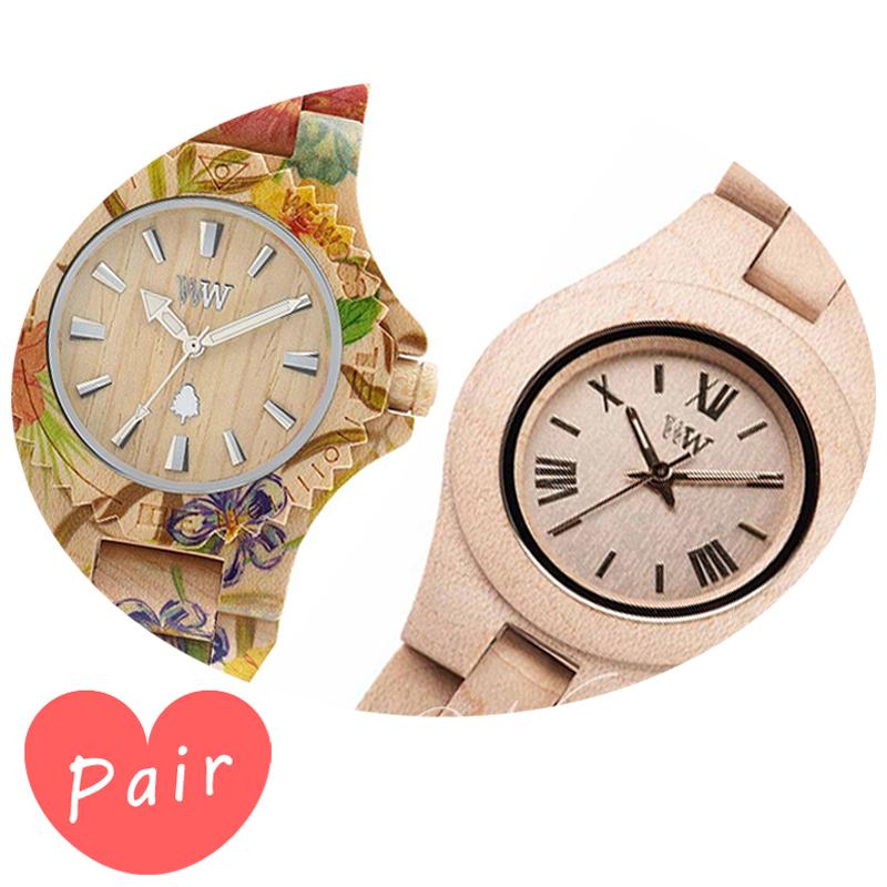 【ペアウォッチ】 WEWOOD ウィーウッド 正規品 腕時計ナチュラルウッド ハンドメイドデイトプリントフラワー×ベージュクリスベージュwewood-9818035wewood-9818044