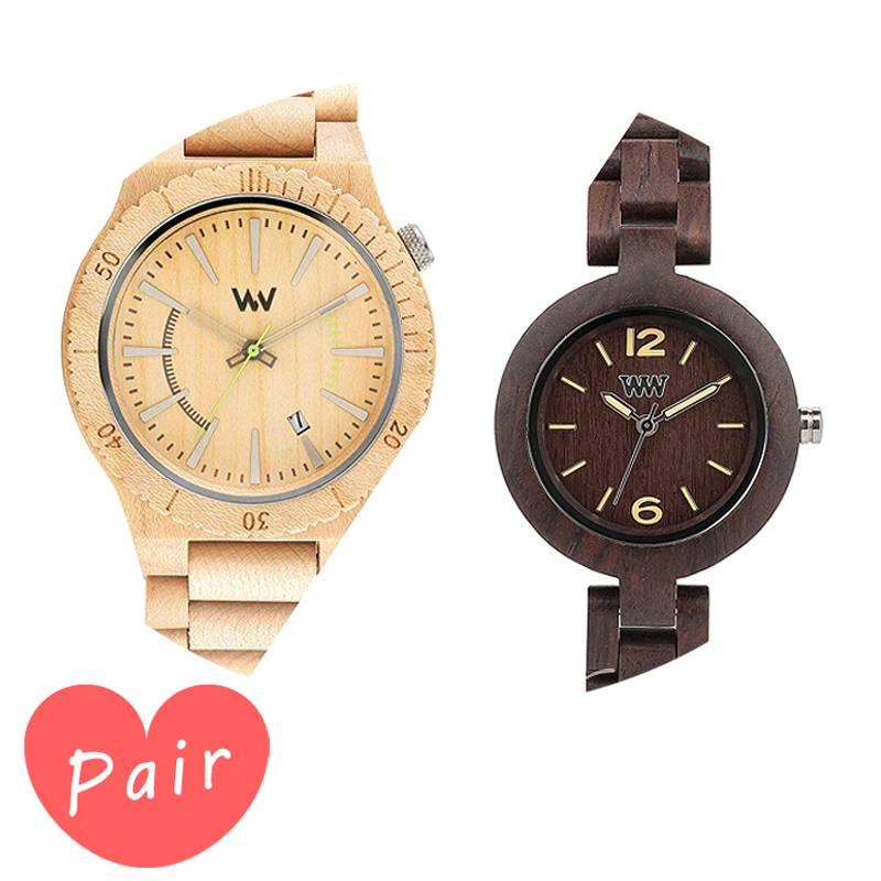 【ペアウォッチ】 【素敵なラッピング付】 WEWOOD ウィーウッド 正規品 腕時計ナチュラルウッド ハンドメイドアサントベージュミモザチョコレートwewood-9818049wewood-9818075