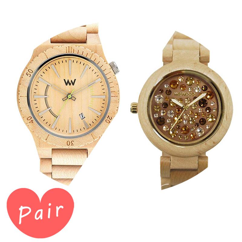 【ペアウォッチ】 【素敵なラッピング付】 WEWOOD ウィーウッド 正規品 腕時計ナチュラルウッド ハンドメイドアサントベージュアルナス×ベージュ×トパーズwewood-9818049wewood-9818084