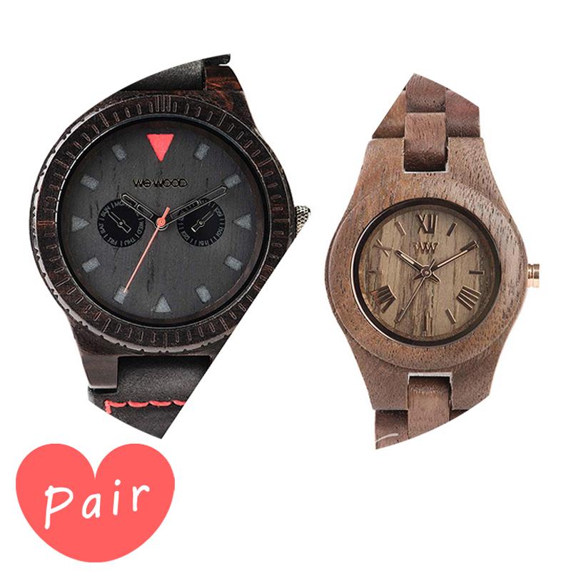 【ペアウォッチ】 【素敵なラッピング付】 WEWOOD ウィーウッド 正規品 腕時計ナチュラルウッド ハンドメイドレオテッラブラッククリスナットwewood-9818094wewood-9818034