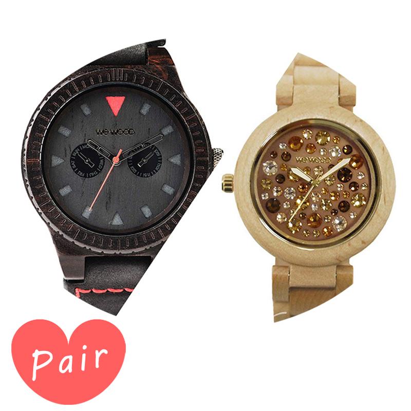 【ペアウォッチ】 【素敵なラッピング付】 WEWOOD ウィーウッド 正規品 腕時計ナチュラルウッド ハンドメイドレオテッラブラックアルナス×ベージュ×トパーズwewood-9818094wewood-9818084