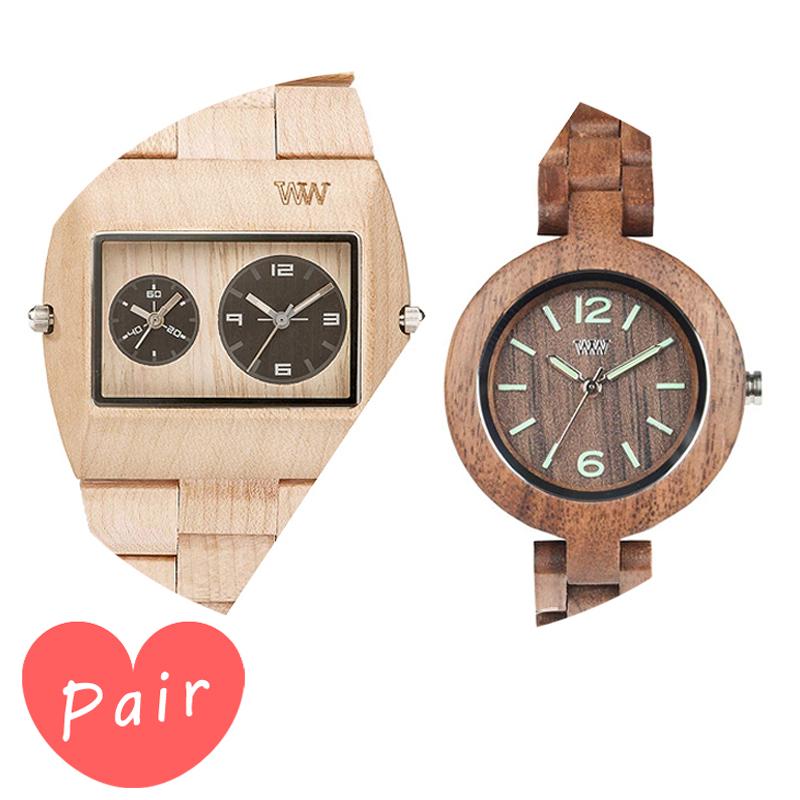 【ペアウォッチ】 【素敵なラッピング付】 WEWOOD ウィーウッド 正規品 腕時計ナチュラルウッド ハンドメイドベージュミモザナットwewood-9818071wewood-9818089 木 プレゼント ギフト 記念日 記念 お祝い ラッピング