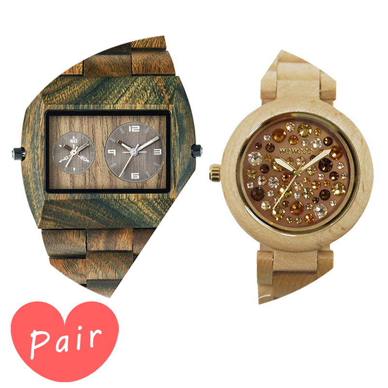 【ペアウォッチ】 【素敵なラッピング付】 WEWOOD ウィーウッド 正規品 腕時計ナチュラルウッド ハンドメイドアーミーアルナス×ベージュ×トパーズwewood-9818072wewood-9818084