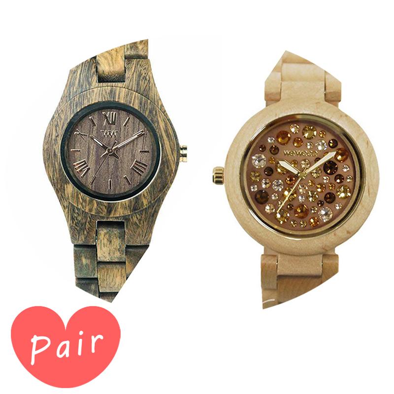 【ペアウォッチ】 【素敵なラッピング付】 WEWOOD ウィーウッド 正規品 腕時計ナチュラルウッド ハンドメイドクリスアーミーアルナス×ベージュ×トパーズwewood-9818033wewood-9818084