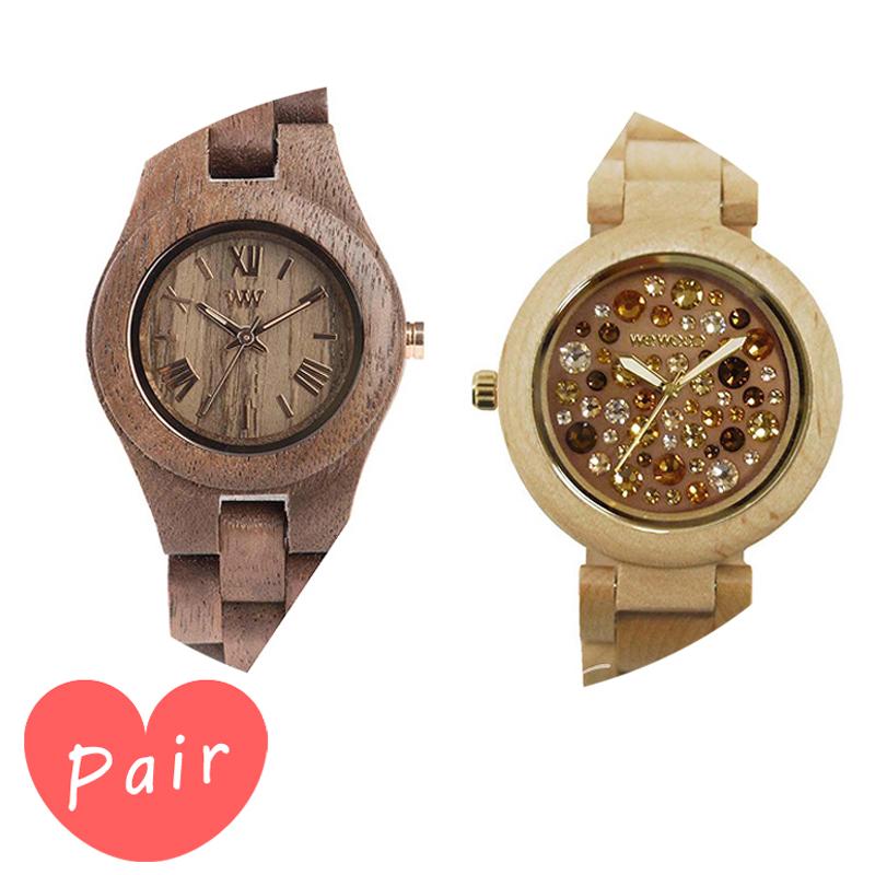 【ペアウォッチ】 【素敵なラッピング付】 WEWOOD ウィーウッド 正規品 腕時計ナチュラルウッド ハンドメイドクリスナットアルナス×ベージュ×トパーズwewood-9818034wewood-9818084