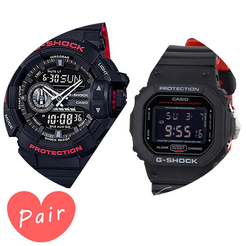 【3年保証】 【ペアウォッチ】 CASIO カシオ 腕時計 メンズ Gショック 防水 ジーショック G-SHOCKブラック 黒 ×レッドブラック 黒 ×レッドga-400hr-1adrdw-5600hr-1dr