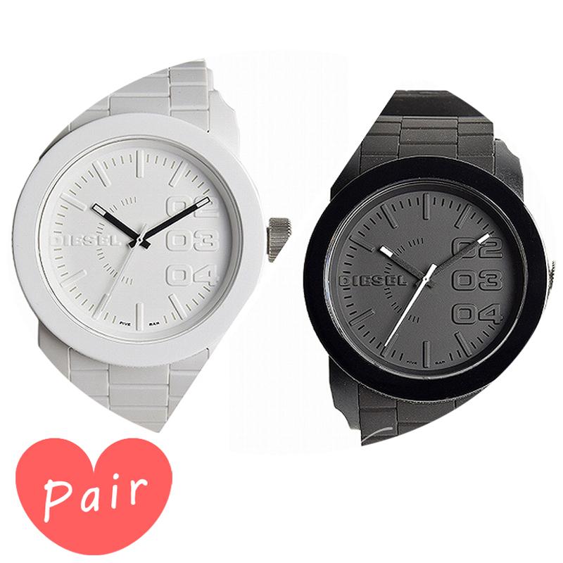 【ペアウォッチ】 DIESEL ディーゼル腕時計ウレタンベルトホワイトブラックdz1436dz1437