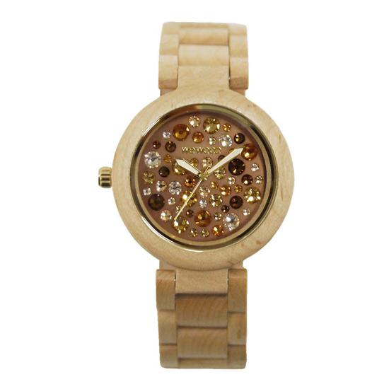 【ペアウォッチ】 WEWOOD ウィーウッド 正規品 腕時計ナチュラルウッド ハンドメイドミモザチョコレートアルナス×ベージュ×トパーズwewood-9818075wewood-9818084