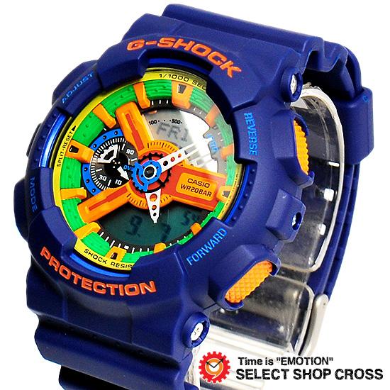 【名入れ対応】 【3年保証】 Gショック 防水 ジーショック カシオ CASIO G-SHOCK Gショック 防水 ジーショック 雑誌掲載モデル Crazy Colors メンズ 腕時計 アナデジ 海外モデル GA-110FC-2AER ブルー 【あす楽】